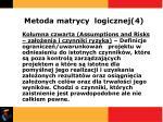 metoda matrycy logicznej 4