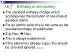 h at enthalpy of atomisation