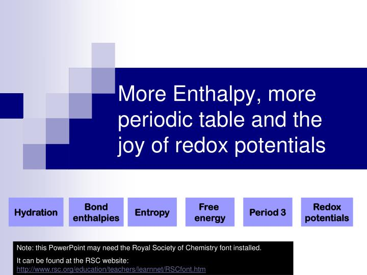 more enthalpy more periodic table and the joy of redox potentials n.