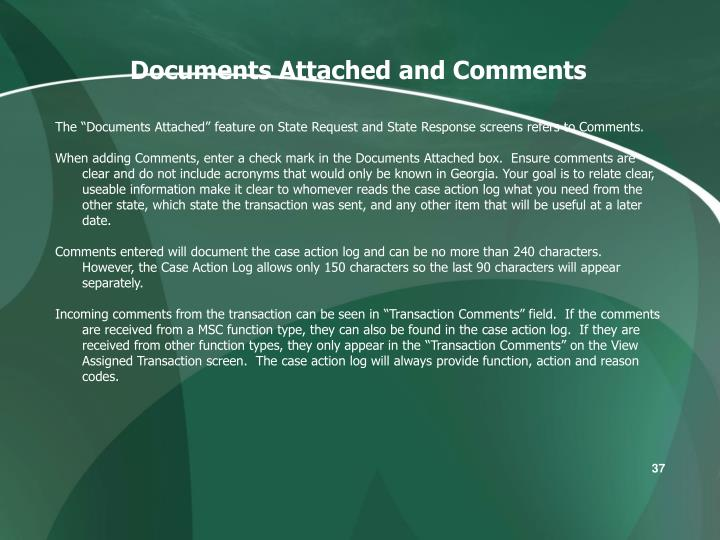 Documents Attached and Comments