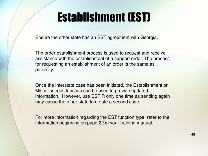 Establishment (EST)