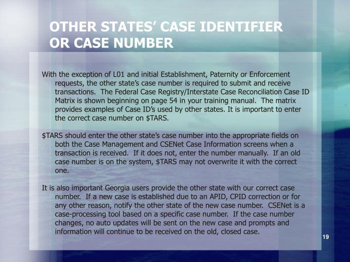 OTHER STATES' CASE IDENTIFIER
