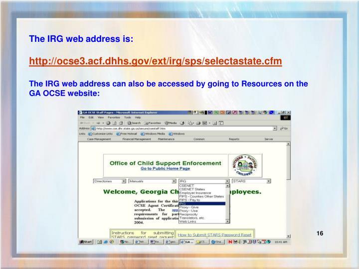The IRG web address is: