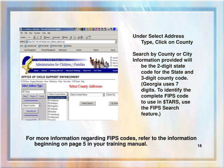 Under Select Address Type, Click on County