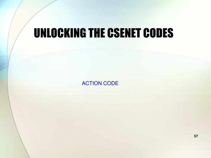 UNLOCKING THE CSENET CODES