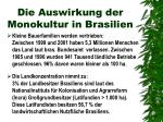 die auswirkung der monokultur in brasilien