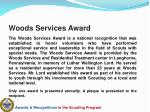 woods services award