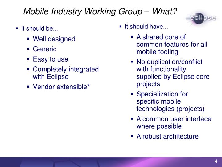 Mobile Industry Working Group – What?