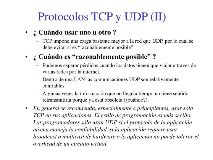Protocolos TCP y UDP (II)