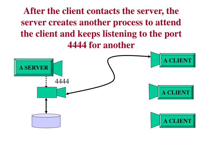 After the client contacts the server, the server creates another process to attend the client and keeps listening to the port 4444 for another