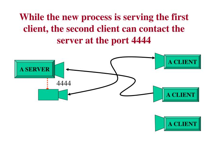 While the new process is serving the first client, the second client can contact the server at the port 4444