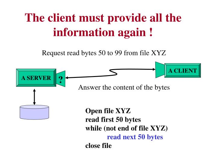 The client must provide all the information again !