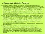 auswertung biotischer faktoren