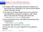 role of the online system