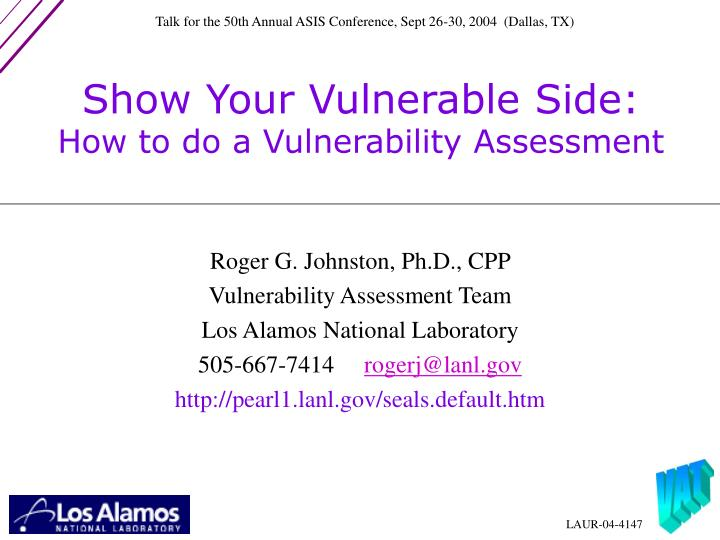show your vulnerable side how to do a vulnerability assessment n.