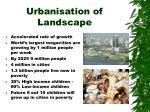 urbanisation of landscape