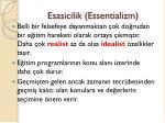 esasicilik essentializm