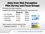 data from risk perception pilot survey and focus groups
