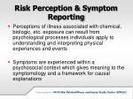 risk perception symptom reporting