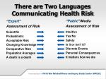 there are two languages communicating health risk