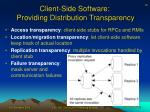 client side software providing distribution transparency