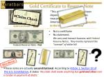 gold certificate to reserve note