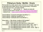 p klad pro derby mysql oracle