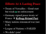 efforts at a lasting peace