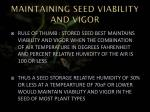 maintaining seed viability and vigor