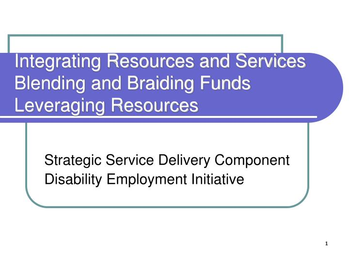 integrating resources and services blending and braiding funds leveraging resources n.
