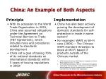 china an example of both aspects