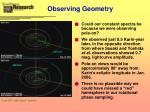 observing geometry