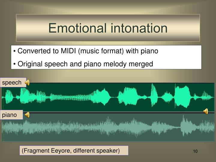 Emotional intonation