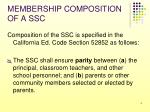 membership composition of a ssc