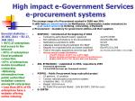 high impact e government services e procurement systems