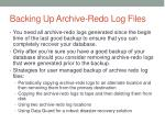 backing up archive redo log files