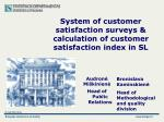 s ystem of customer satisfaction surveys calculation of customer satisfaction index in sl