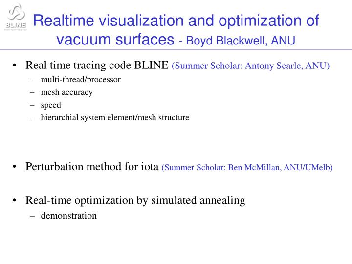 realtime visualization and optimization of vacuum surfaces boyd blackwell anu n.