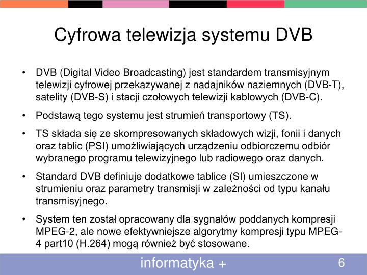 Cyfrowa telewizja systemu DVB