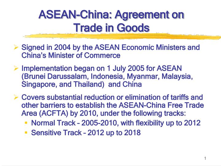 asean china agreement on trade in goods n.
