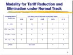 modality for tariff reduction and elimination under normal track