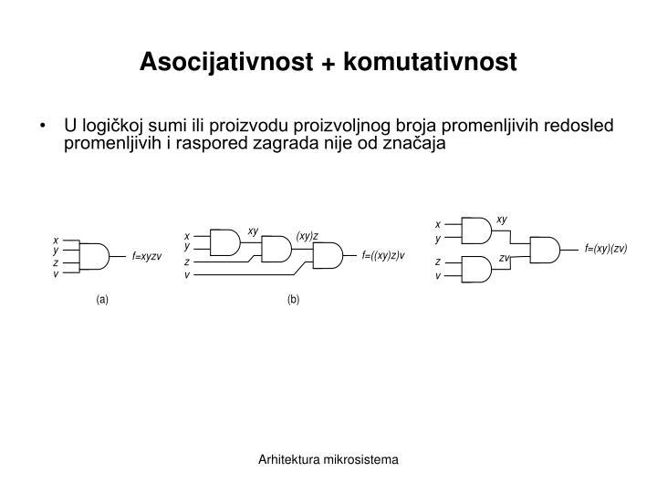 Asocijativnost + komutativnost