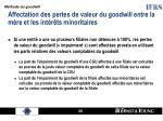 affectation des pertes de valeur du goodwill entre la m re et les int r ts minoritaires
