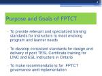 purpose and goals of fptct