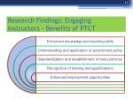research findings engaging instructors benefits of ptct