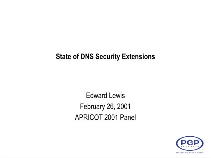 state of dns security extensions n.