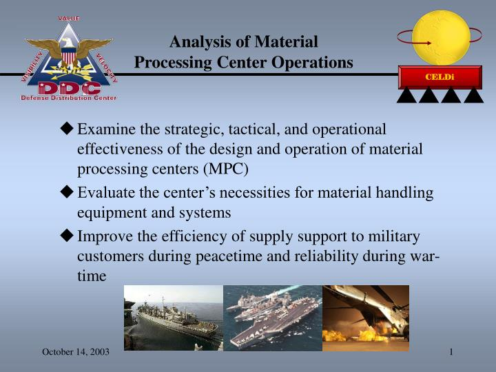 analysis of material processing center operations n.