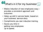 what s in it for my business