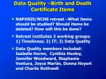 data quality birth and death certificate items
