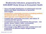 biodiversity indicators proposed by the ices bsrp study group on ecosystem health